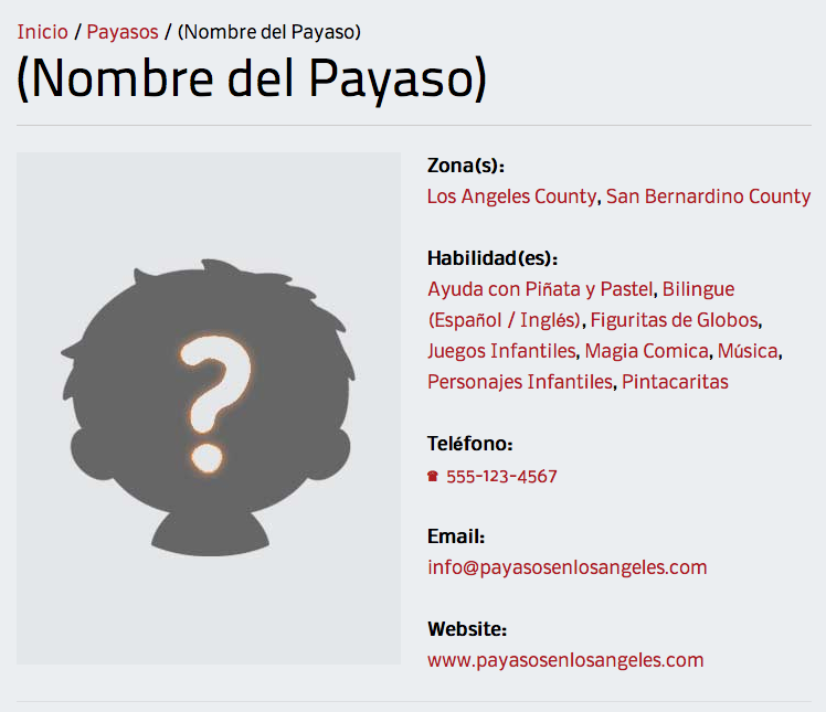 Ejemplo de Micrositio de Payaso en PayasosenLosAngeles.COM